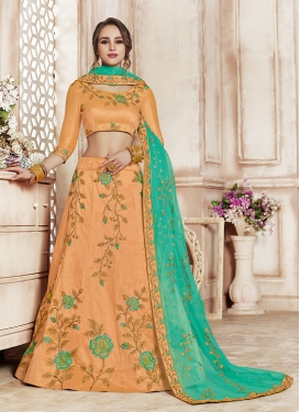 Peach Art Silk Sangeet Designer Lehenga Choli