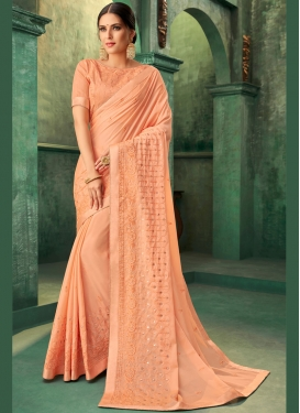 Peach Embroidered Faux Georgette Traditional Designer Saree