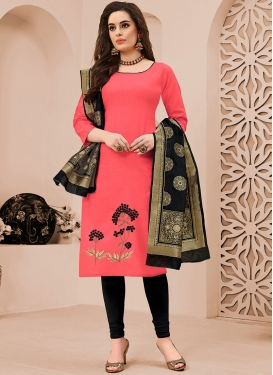 Perfect Embroidered Pink Cotton Churidar Suit