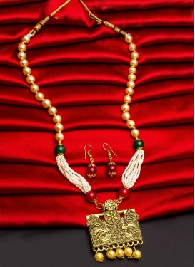 Perfect Gold Rodium Polish Beads Work Necklace Set For Ceremonial