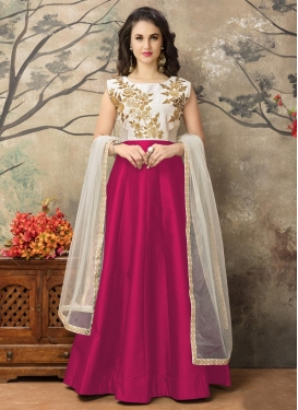 Perfect Off White and Rose Pink Ankle Length Anarkali Salwar Suit