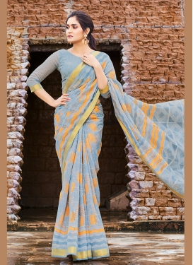 Picturesque Grey Printed Saree