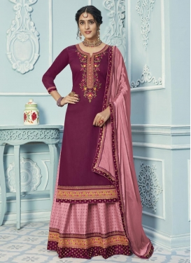 Pink and Purple Cotton Silk Kameez Style Lehenga Choli
