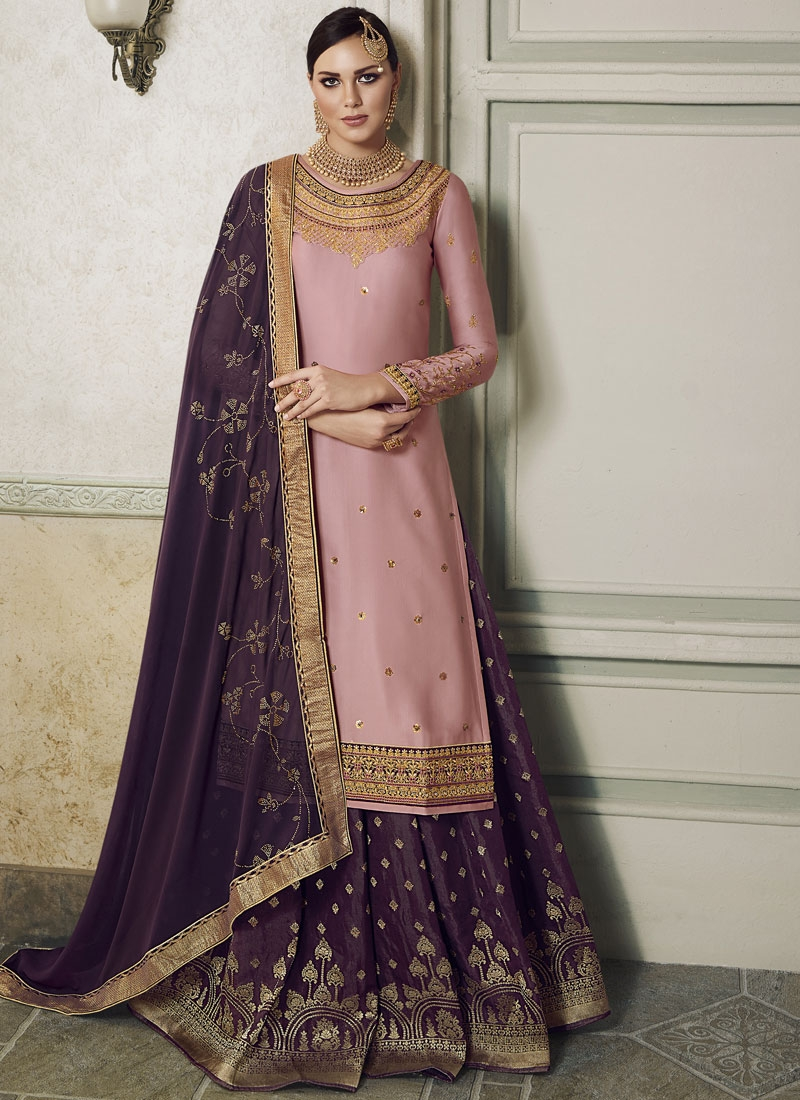 Pink and Purple Embroidered Work Kameez Style Lehenga Choli