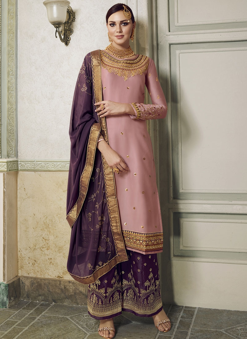 Pink and Purple Palazzo Style Pakistani Salwar Suit For Ceremonial