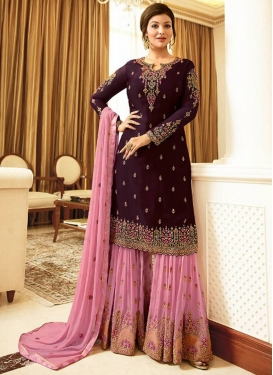 Pink and Purple Sharara Salwar Suit