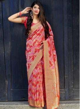 Pink and Red Banarasi Silk Classic Saree