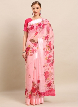 Pink and Rose Pink Cotton Silk Designer Contemporary Style Saree