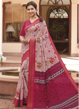 Pink and Rose Pink Digital Print Work Trendy Classic Saree