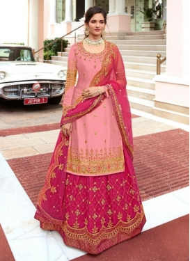 Pink and Rose Pink Embroidered Work Designer Kameez Style Lehenga Choli