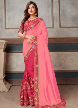 Pink and Rose Pink Embroidered Work Half N Half Saree