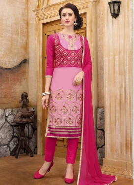 Pink and Rose Pink Embroidered Work Pant Style Classic Salwar Suit