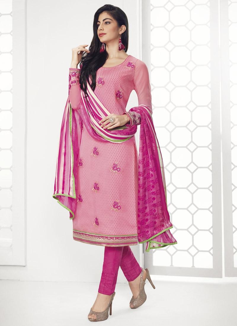 Pink and Rose Pink Faux Georgette Pakistani Straight Salwar Kameez