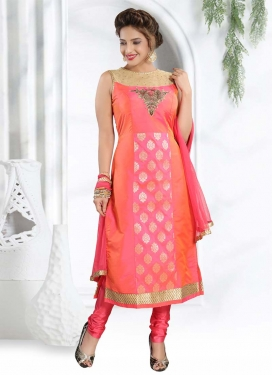 Pink and Salmon Cutdana Work Readymade Churidar Salwar Kameez