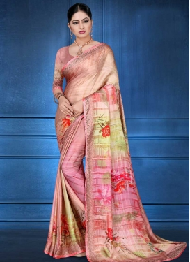 Pink and Salmon Satin Georgette Trendy Saree