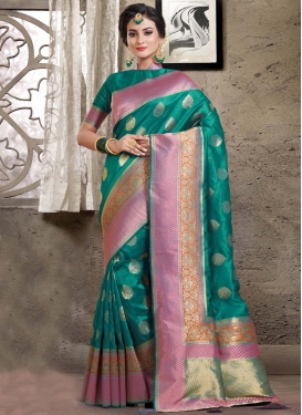 Pink and Teal Woven Work Trendy Designer Saree