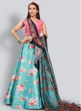 Pink and Turquoise Digital Print Work Trendy Lehenga Choli