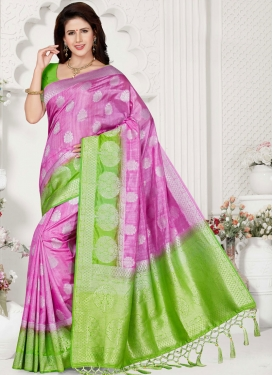 Pink Weaving Ceremonial Traditional Saree