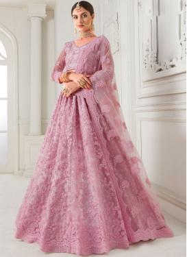 Pink Wedding Net Trendy A Line Lehenga Choli
