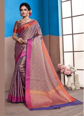 Piquant Purple Woven Designer Traditional Saree