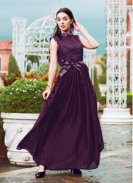 Pleasance Crepe Silk Fancy Purple Readymade Gown