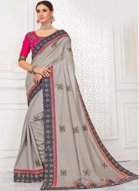 Pleasance Embroidered Poly Silk Grey Trendy Saree