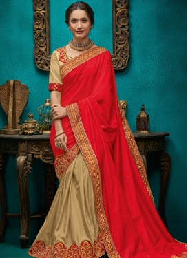 Pleasance Poly Silk Ceremonial Designer Half N Half Saree