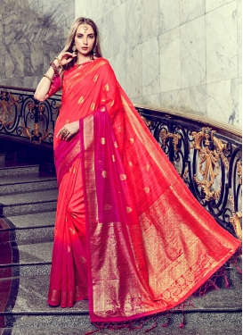 Pleasance Red Art Silk Trendy Saree