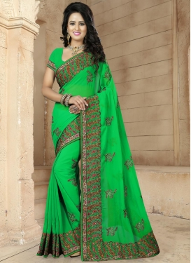 Pleasing Embroidered Work Contemporary Saree