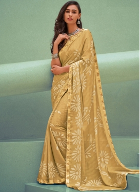Pleasing Silk Georgette Cream Silk Saree