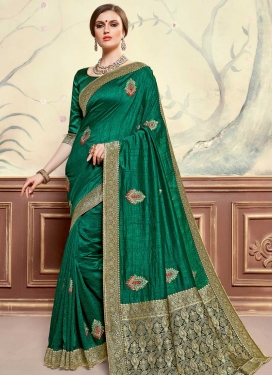 Poly Silk Booti Work Designer Traditional Saree