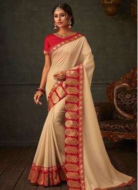 Poly Silk Cream and Red Designer Traditional Saree For Ceremonial