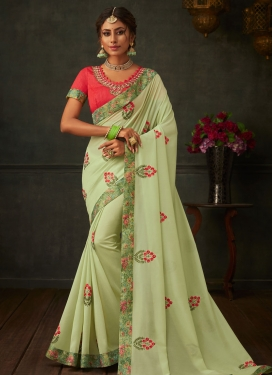 Poly Silk Designer Contemporary Style Saree For Ceremonial