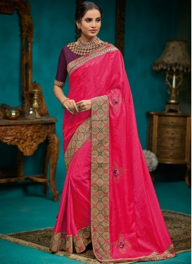 Poly Silk Designer Traditional Saree in Hot Pink