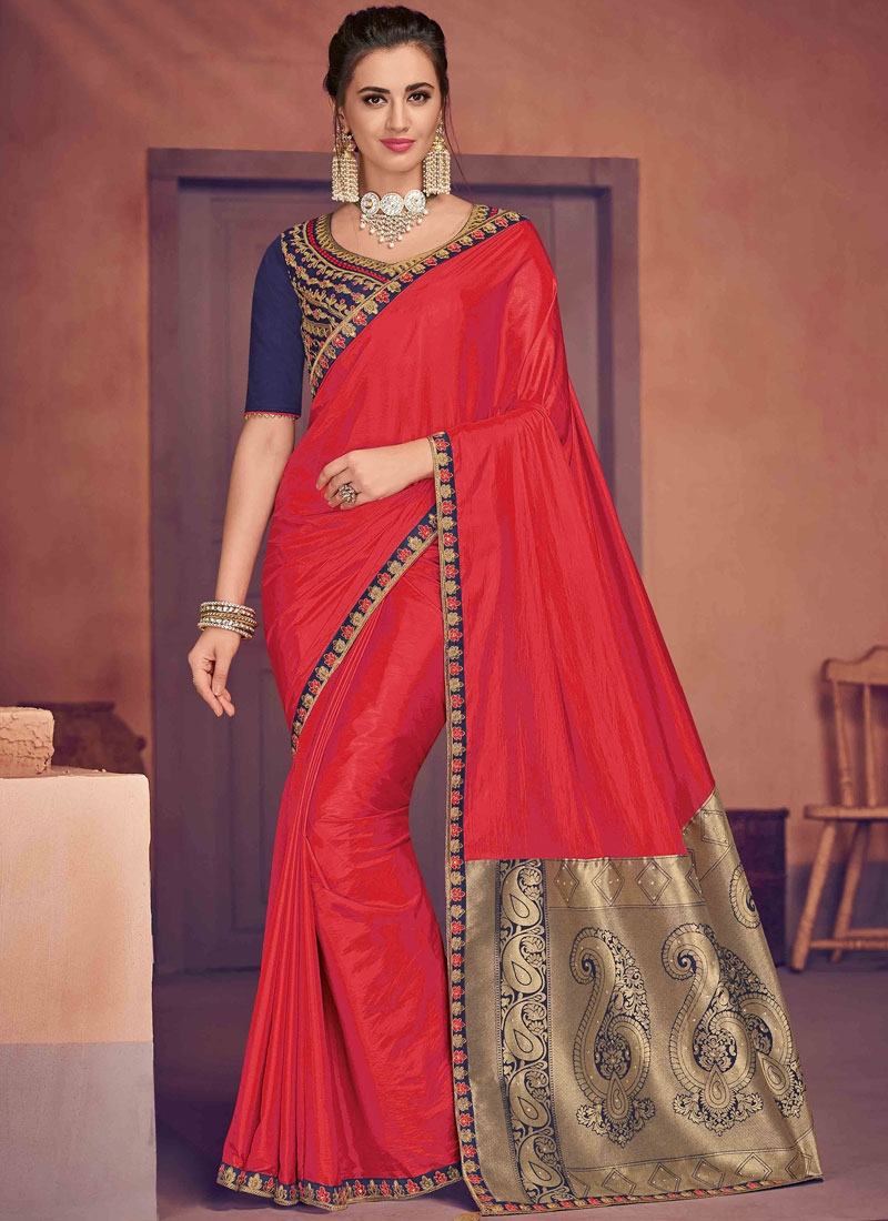 Poly Silk Designer Traditional Saree in Red