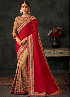Poly Silk Embroidered Half N Half Designer Saree in Beige and Red
