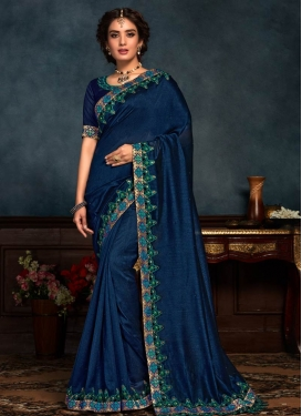 Poly Silk Embroidered Work Contemporary Style Saree