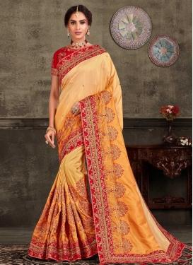 Poly Silk Embroidered Work Designer Contemporary Saree