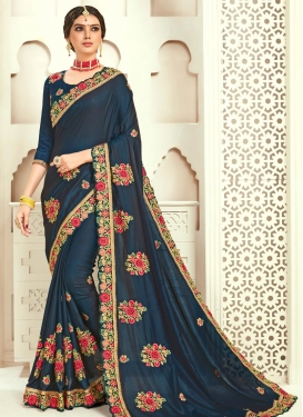 Poly Silk Embroidered Work Designer Contemporary Style Saree