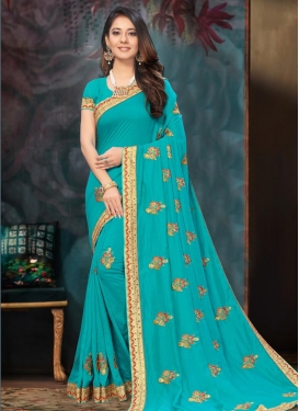 Poly Silk Embroidered Work Traditional Designer Saree
