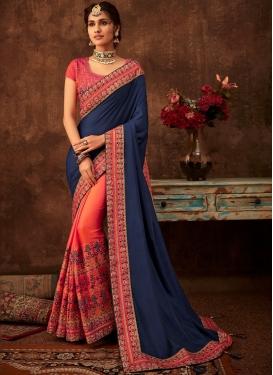 Poly Silk Half N Half Designer Saree in Navy Blue and Orange
