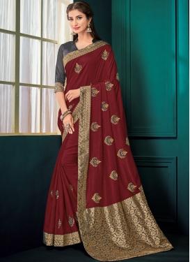 Poly Silk Maroon Designer Saree