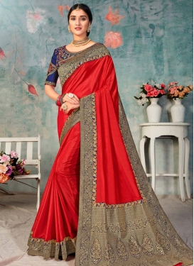 Poly Silk Navy Blue and Red Lace Work Designer Traditional Saree