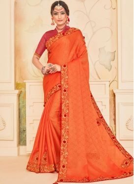 Poly Silk Patch Border Traditional Saree in Orange