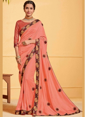 Poly Silk Peach Patch Border Designer Traditional Saree