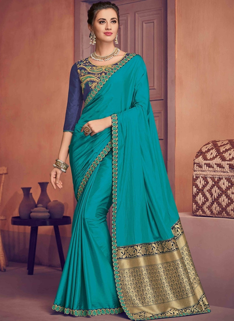 Poly Silk Traditional Saree in Navy Blue