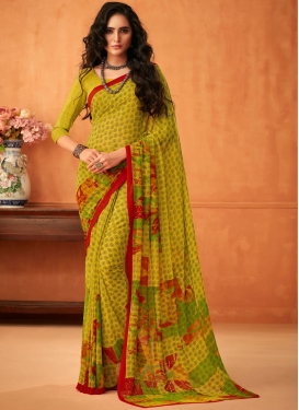 Praiseworthy Multi Colour Abstract Print Faux Georgette Printed Saree