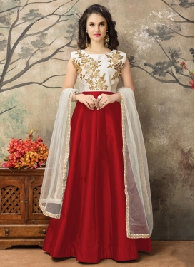 Praiseworthy Tafeta Silk Off White and Red Embroidered Work Long Length Anarkali Suit