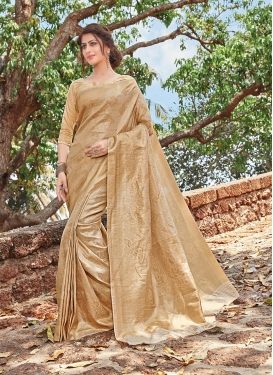 Praiseworthy Weaving Beige Traditional Designer Saree