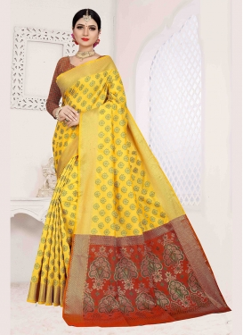 Praiseworthy Yellow Weaving Art Silk Traditional Saree